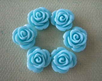 6PCS - Rose Flower Cabochons - 14mm - Resin - Blue - Cabochons by ZARDENIA