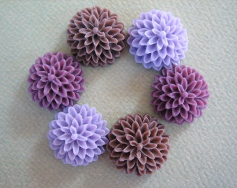 6PCS - Mixed Color Sampler Pack - Violet, Lilac and Brown - Chrysanthemum Cabochons - 15mm - Matte Finish - Jewelry Findings by ZARDENIA