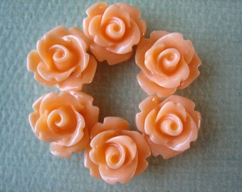 6PCS Mini Rose Flower Cabochons, 10mm Resin Roses,10mm Mini Roses, Creamsicle, 10mm Rose Cabochons, Diy Supplies and Crafts, Zardenia