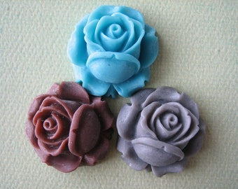 3PCS - Turquoise, Brown and Gray - Rose Flower Cabochons - 26mm - Matte Finish - Jewelry Findings by ZARDENIA