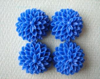 4PCS - Royal Blue - Chrysanthemum Cabochons - 15mm - Matte Finish - Jewelry Findings by ZARDENIA