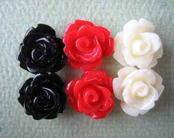 6PCS Mini Rose Flower Cabochons, 10mm Resin Rose Cabochons, Black, Red and Vanilla Sampler Pack, Jewelry Supplies and Diy Crafts by Zardenia