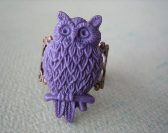 Violet Owl Ring - Antique Brass Adjustable Filigree Ring - Free US Shipping - Jewelry by ZARDENIA