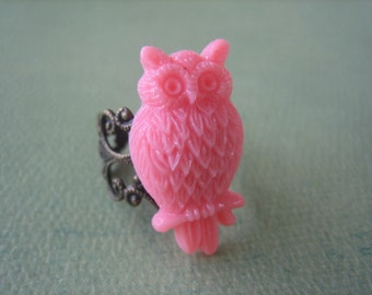 Honeysuckle Pink Owl Ring - Antique Brass Adjustable Filigree Ring - Free US Shipping - Jewelry by ZARDENIA