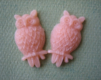 2PCS - Peach - Resin Owl Cabochons - 25mm Matte Finish - Jewelry Findings by ZARDENIA