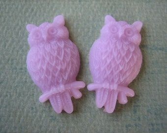 2PCS - Light Raspberry - Resin Owl Cabochons - 25mm Matte Finish - Jewelry Findings by ZARDENIA