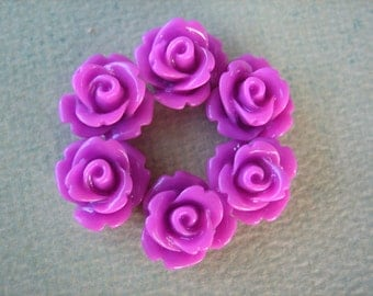 6PCS - Mini Rose Flower Cabochons - 10mm - Resin - Grape - Cabochons by ZARDENIA