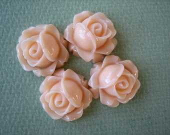 4PCS - Cabbage Rose Flower Cabochons - 15mm - Resin - Pale Peach - Findings by ZARDENIA