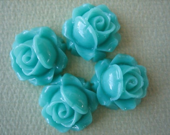 4PCS - Cabbage Rose Flower Cabochons - 15mm - Resin - Turquoise - Findings by ZARDENIA