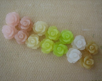 14PCS Mini Rose Flower Cabochons, 10mm Mini Roses, Resin Roses, 7 Color Frosted Mix - Cabochons by ZARDENIA