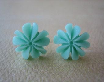 Mini Ruffle Earrings - Mint - Free Standard US Shipping - Jewelry by ZARDENIA