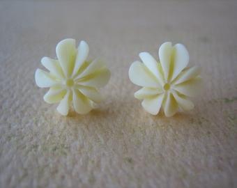 Mini Ruffle Earrings - Ivory - Free Standard US Shipping - Jewelry by ZARDENIA