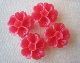 4PCS - Clover Flower Cabochons - 14mm - Red - Resin Cabochons by ZARDENIA