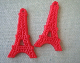 2PCS - Eiffel Tower Cabochons - Red - 25x45mm - Cabochons by ZARDENIA