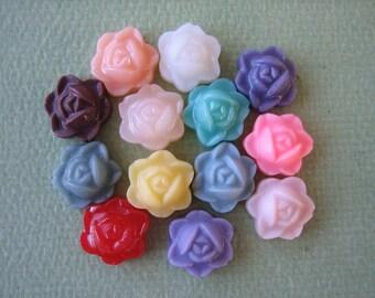 13PCS - Mini Rosebud Flower Cabochons - 9mm - Resin - Mixed Colors - Cabochons by ZARDENIA