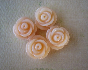 4PCS - Mini Cupcake Rose Flower Cabochons - 11mm - Resin - Frosty Peach - Cabochons by ZARDENIA