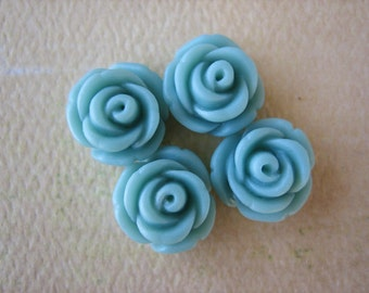 4PCS - Mini Cupcake Rose Flower Cabochons - 11mm - Resin - Aqua - Cabochons by ZARDENIA