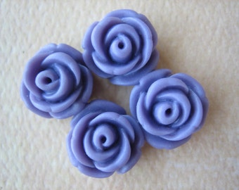 4PCS - Mini Cupcake Rose Flower Cabochons - 11mm - Resin - Lavender - Cabochons by ZARDENIA