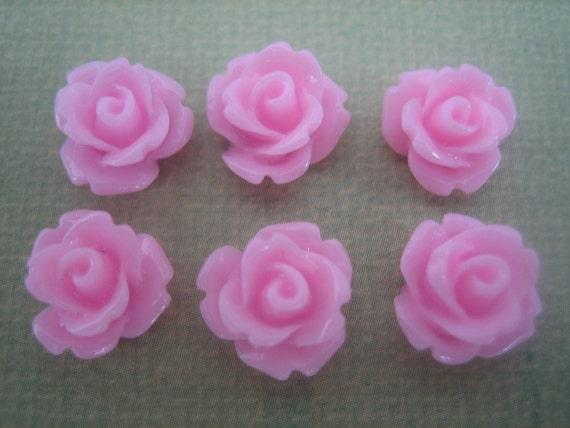 6PCS - Pink - Mini Rose Flower Cabochons - 10mm - Resin