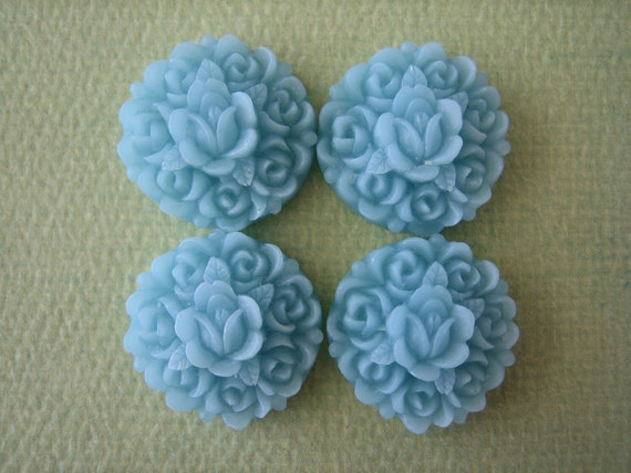 4PCS - Rosebud Flower Cabochons - Resin - Blue - 17mm - Cabochons by ZARDENIA