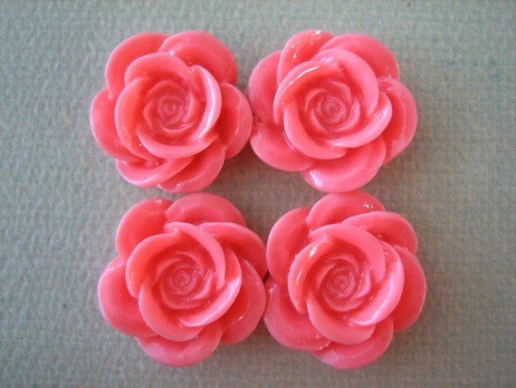 4PCS - Peach - Resin Rose Flower Cabochons - 18mm - Shiny Finish - Cabochons by ZARDENIA