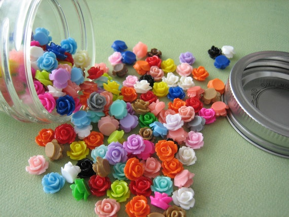 Mini Roses in a Glass Jar, 150 Pieces Sampler Pack Mini Flower Cabochons, Crafting and Jewelry Supplies by Zardenia