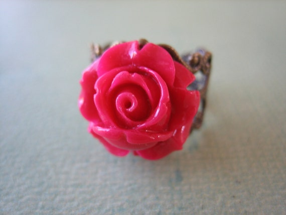 Petite Magenta Rose Flower Ring - Adjustable Antique Brass Ring - Free US Shipping - Jewelry by ZARDENIA