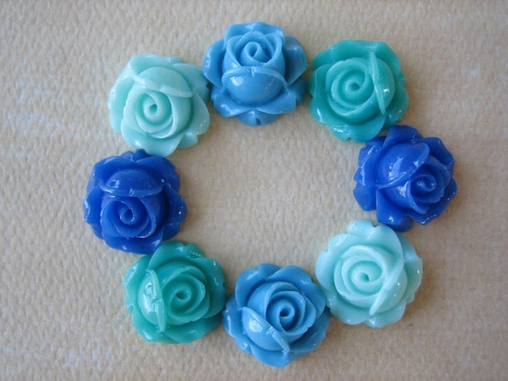 8PCS - Cabbage Rose Flower Cabochons - 15mm - Resin - Mixed Blues - Findings by ZARDENIA