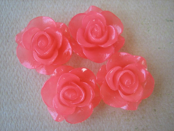 4PCS - Jelly Pink - Rose Flower Cabochon - 21mm - Resin - Cabochons by ZARDENIA