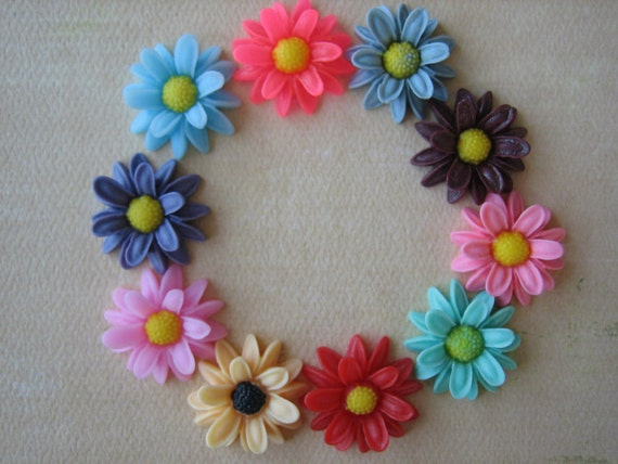 10PCS - Daisy Cabochons - 21mm - Mixed Colors - New Arrival - Cabochons by ZARDENIA