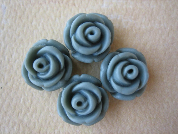 4PCS - Mini Cupcake Rose Flower Cabochons - 11mm - Resin - Gray - Cabochons by ZARDENIA