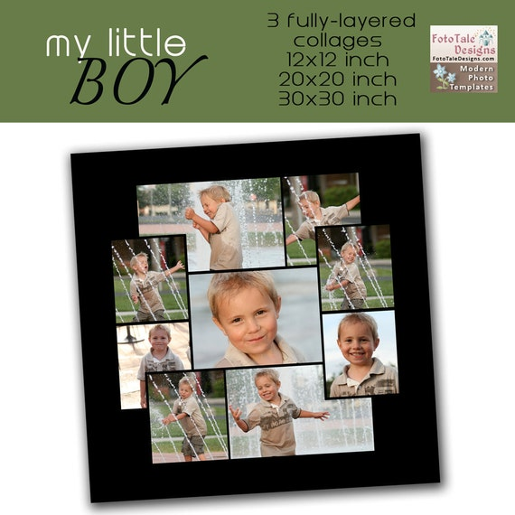 RETIRING My Little Boy Collage Set- 12x12, 20x20 and 30x30 custom photo collage/storyboard templates for photographers