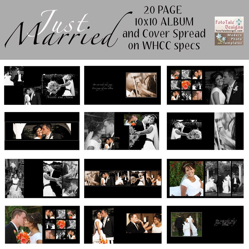 Photo Album Examples: Just Married 10x10 Wedding Photo Album Custom Photo Templates