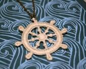 Nautical Necklace - Vintage Lace Ship's Wheel Necklace - Hello Sailor