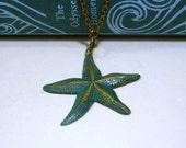 Starfish Necklace - Aqua Blue Teal Turquoise Vergidris Aged Brass