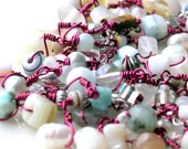 layered charm bracelet / wrap anklet or bracelet / beaded jewelry white beads. uniquenecks bracelet