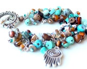 hamsa bracelet. good luck charm. brown and teal turquoise beads. beaded luck bracelet. wire wrapped bracelet