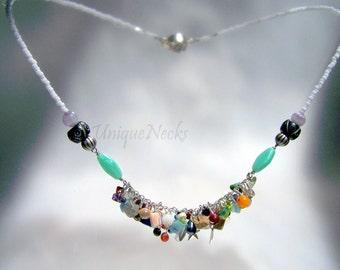 fringe necklace. sterling silver