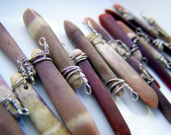Sea Urchin charms or pendant sticks. 16 for ten dollars. wire wrapped coral