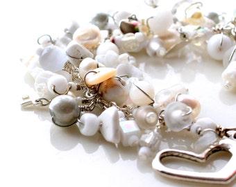 white beaded bracelet. beaded fringe confetti bracelet white silver beads charms swarovski jewelry wire wrapped beaded heart bracelet