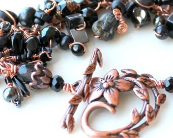 copper flower bliss bracelet / blackstone / black agate / black obsidian gemstones / czech glass / swarovski beads / flower leaf clasp