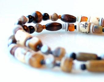 earthy tigereye beaded bracelet. agate.wood. double multi stranded jasper gemstone beaded stacking jewelry.  copper clasp.