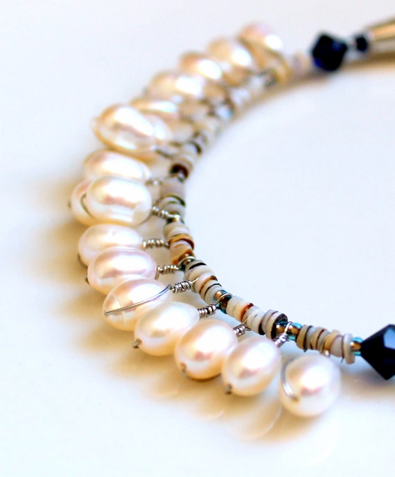pearl wrapped necklace. beaded bridal jewelry lapis lazuli and tribal heishi seashells / romantic GIFT