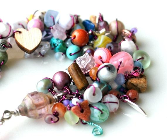 easter bracelet. pastel paradise handmade beaded wire wrapped star heart charms bracelet fringe jewelry