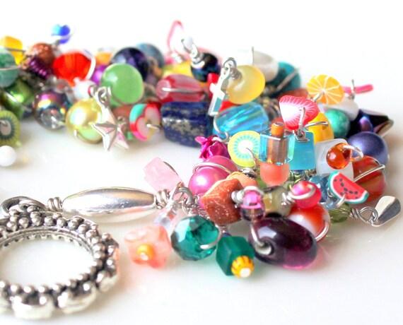 beaded bracelet. beaded fringe bracelet. wire wrapped beads stacking jewelry colorful multicolored fruit beads wire wrapped bracelet