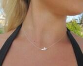 SALE-Sideways Cross Necklace, silver horizontal cross necklace, tiny and dainty, choker