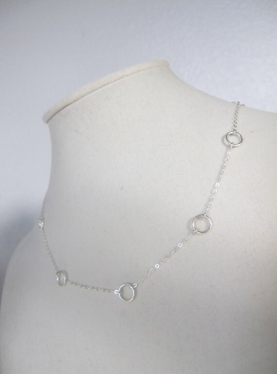 Sterling Silver Circle Necklace, silver little circle necklace