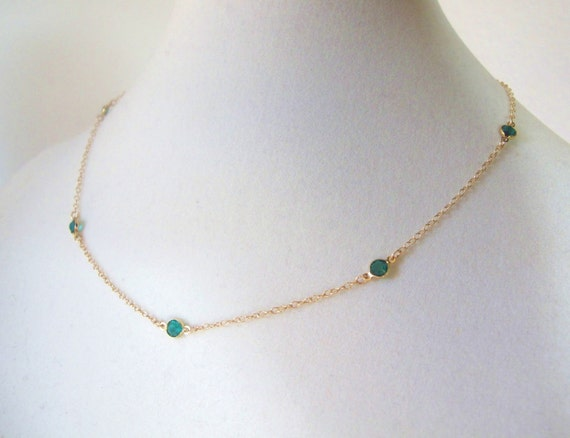 Emerald Crystals on Gold-May Birthstone-many colors available, birthstone jewelry