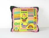 bright embroidery FOLK ART PILLOW
