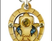 Israeli wooden and gem stones hand made - keychain with hamsa and bleesing - kabbalah - Star of David